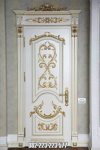 Pintu Kamar Ukir Mewah Cat Duco Puith Kombinasi Gold