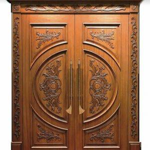 Pintu Ukir Jati Kupu Tarung Desain Klasik
