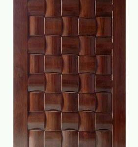 Pintu Jati Minimalis Motif Ukiran Anyaman Tikar
