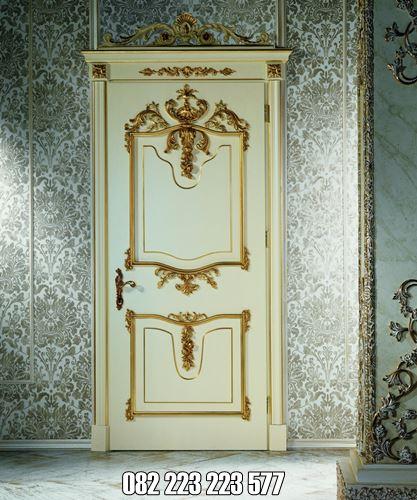 Pintu Kamar Mewah Ukiran Jepara Warna Gold
