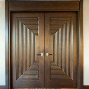 Pintu Rumah Minimalis Utama Kupu Tarung Jati Motif Tali Air