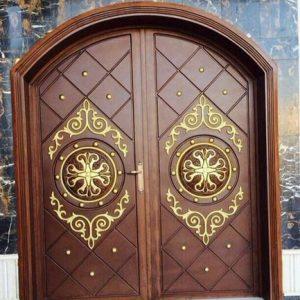 Pintu Rumah Model Kusen Kupu Tarung Lengkung Kayu Jati Ukir Jepara