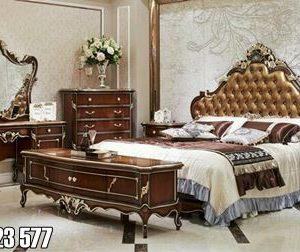 Set Tempat Tidur Jati Mewah Ukiran Jepara Klasik