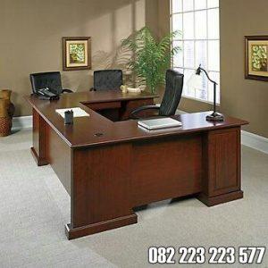Meja Kerja Staff Kantor Minimalis Kayu Jati