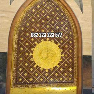 Pintu Nabawi Masjid Model Lengkung Ukir Kayu Jati
