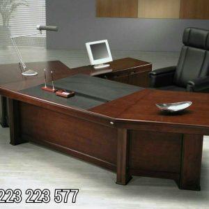 Meja Kerja Kayu Jati Kantor Model Lengkung