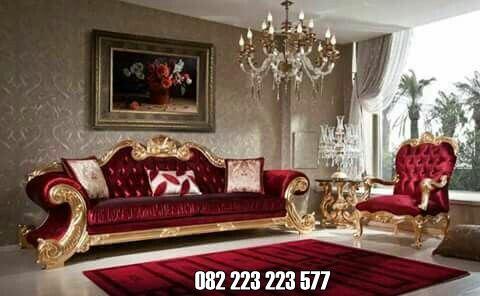 Sofa Tamu Mewah Ukiran Klasik Elegan