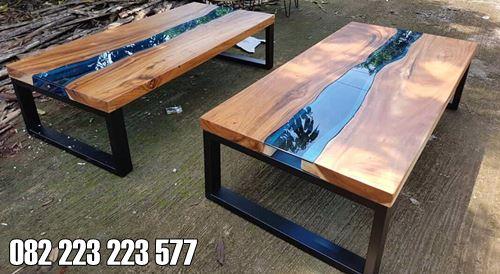 Coffee Table Minimalis Kayu Utuh Resin