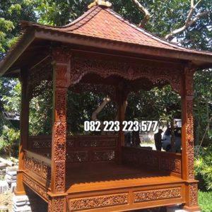 Gazebo Ukir Jati Jepara Model Klasik Atap Genteng Mahkota