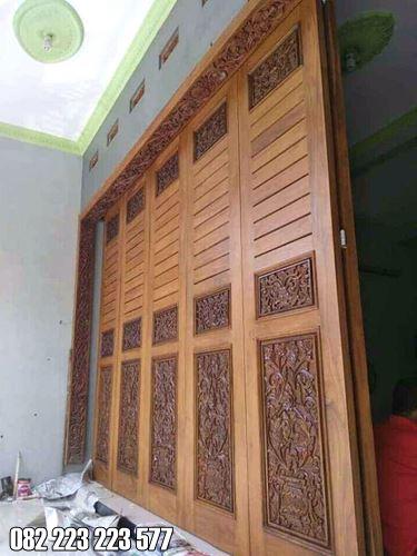 Pintu Garasi Ukir Kayu Jati Jepara Untuk Rumah Mewah