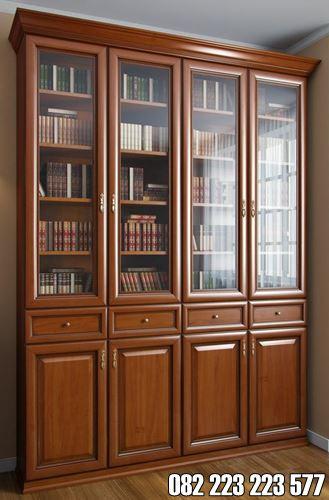 Lemari Buku Ruangan Bupati Kayu Jati Jepara Motif Kaca
