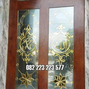 Jendela Masjid Minimalis Kayu Jati Kaca Inlay