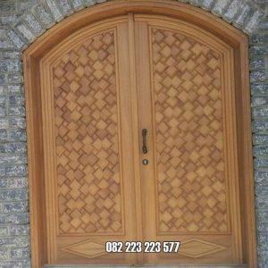 Pintu Kusen Jati Model Lengkung Motif Bata