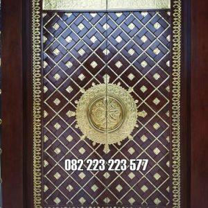 Pintu Madinah Kayu Jati Kombinasi Kuningan Asli