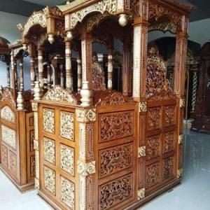 Model Mimbar Masjid Kayu Jati Motif Atap Mahkota