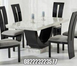 Meja Makan Marmer Putih 6 Kursi Minimalis Modern