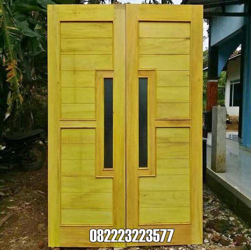 Pintu Minimalis Kayu Nangka Warna Kuning Model Kupu Tarung