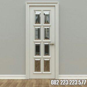 Pintu Panel Kaca Minimalis Cat Duco Warna Putih