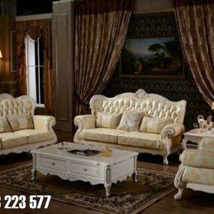 1 Set Sofa Ruang Tamu Warna Puith Lengkap Untuk Rumah Mewah