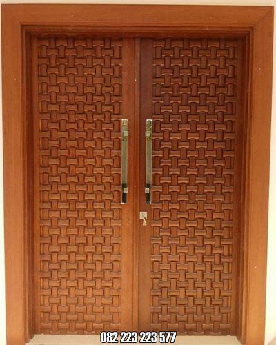 Kusen Pintu Utama Minimalis Ukir Anyaman Tikar
