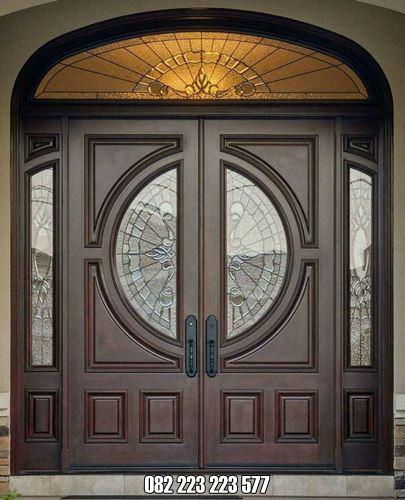 Pintu Rumah Mewah Kayu Jati Kaca Inlay Terbaru