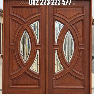 Pintu Rumah Utama Jati Motif Kaca Patri Tengah