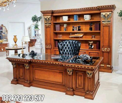 Meja Kantor Kayu Jati Untuk Ruangan Hrd Atau Dierktur