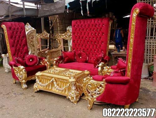 Model Kursi Tamu Jati Motif Bellagio Royal Warna Gold Mewah